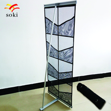 A4 Portable Four Mesh Pocket L Brochure Banner Stand,Lightweight Advertising Display Literature Holder,Retractable Magazine Rack(China)