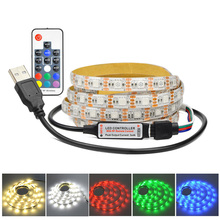 1m 2m 3m 4m 5m 30LEDs/m DC5V RGB USB LED strip light USB cable charger ribbon tape string lighting  IR / RF RGB remote control