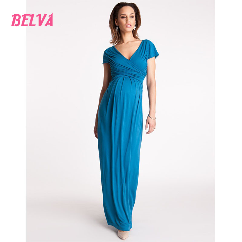 Belva 2017 Blue Bamboo Fiber fashion Flexible maternity summer dress free shipping Anti Pilling maternity clothes DR936<br>