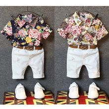 2Pcs Toddler Kids Baby Boy Clothes Sets Floral T-shirt Tops+White Middle Pants Fashion Summer Outfits Children Clothing 2 Colors