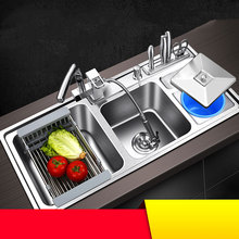 kitchen sink stainless steel double bowl above counter or udermount sinks vegetable washing basin 1.2mm thickness sinks kitchen(China)