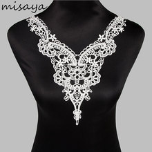 Misaya 1pc White/Black Embroidery Polyester Lace Collar Fabric DIY Manual Collar Lace Fabrics For Sewing Supplies Trim(China)