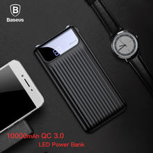 Baseus 10000mAh LCD Quick Charge 3.0 5V3A Power Bank For iPhone X 8 7 Samsung Xiaomi Huawei Battery Charger Portable Powerbank(China)