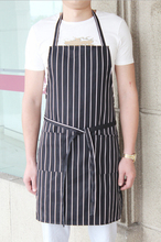 Stripes Apron Adjustable Black Stripe Bib Apron with 2 Pockets Chef Waiter Kitchen Cook Wear Non-fading Free Shipping Wholesale(China)