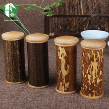 Natural bamboo tea box tea canister kitchen storage jars column Fahion bottles chests cultural spice box storage box tea caddy(China)