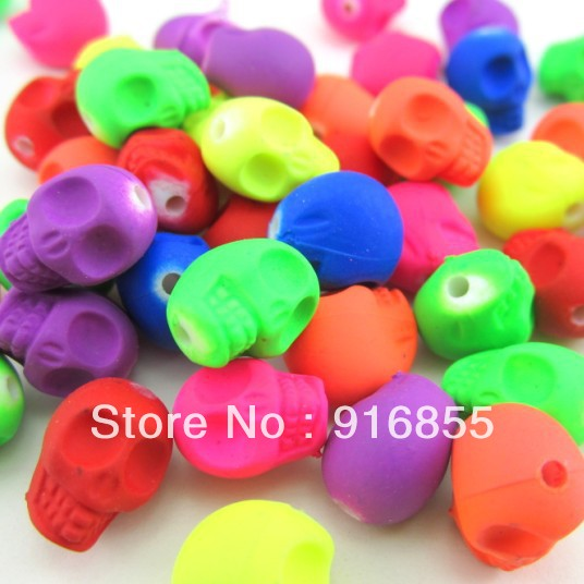 Free shipping 48pcs/lot 12*10mmmixed Fluorescent color Skull avatar Plasticine beads for Jewelry Marking(China)
