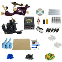 2017 Pro Complete Tattoo Machine Kit Set 2Pcs Rotary Coil Tattoo Machine Gun Power Supply Needles Grips Tips Footswitch