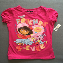 Retail 1 piece Free shipping Fashion girl's clothing princess Dora pink short sleeve summer t shirt top Tee