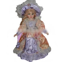 40cm retro porcelain doll purpl dress ceramic dolls Exquisite fashion, European, Victorian style, porcelain doll simulation doll