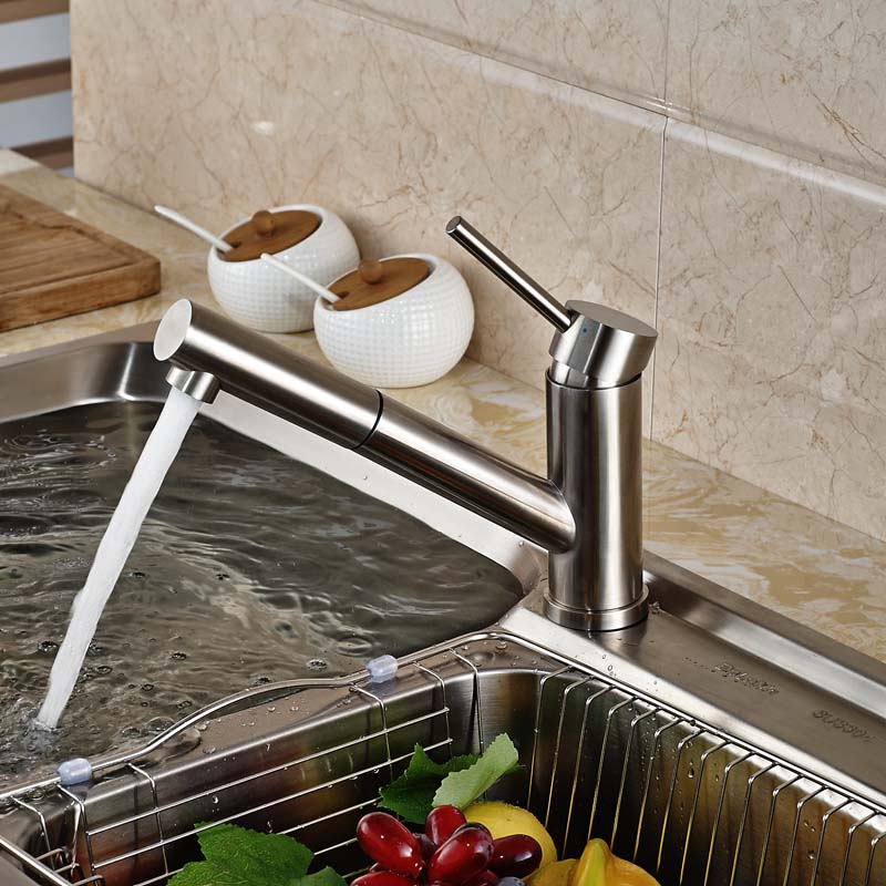 Brushed Nickel Pull Out Sprayer Kitchen Mixer Faucet Single Handle One Hole Water Taps<br><br>Aliexpress