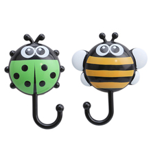 2PCs/ Lot Wall Mounted Suction Cup Hook Cute Insect Shape Kitchen Organizer Racks Bathroom Storage Holders Bag Holder Hook(China)