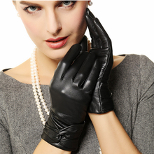 Women Leather Gloves Woman High Guality Leather Sheepskin Thermal Underwear Winter Gloves Free Shipping(China)