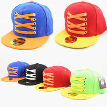 New Children Cartoon Shoelace Mixed Colors Snapback Flat Along the Baseball Hat Hip Hop Hat Sun Hat Size 48-53CM