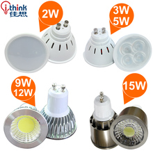3W 5W 9W 12W 15W led spotlights led lamp GU10 Spot light 110v 220v (85v-240v) Warm white Cold white ultra bright free shipping
