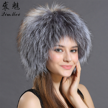 QiuMei Real Fox Fur Bomber Hats for Women Winter Caps With Pompom Knitted Thicken Lined White Silver Bomber Hat Genuine Fox Fur