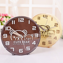 Fashion Wooden color Table Stand Number Alarm Clock Cute Cartons Bear Pattern Big digital Kids Saat despertador Snooze Clock