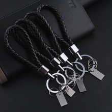 1 PC Black Leather Keychain Holder Keyring Silver Key Car Chain Rings Women Men Jewelry 2016