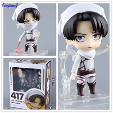 Tobyfancy Anime Attack on Titan Figure Nendoroid 417# Levi Rivaille Cleaner Cute Ver. Action Figure Collectible Model Toy 10CM(China)