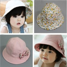 Hot Kids Newborn Baby Infant Lace Floral Bowknot Flower Bonnet Hats Sun Hat Bucket