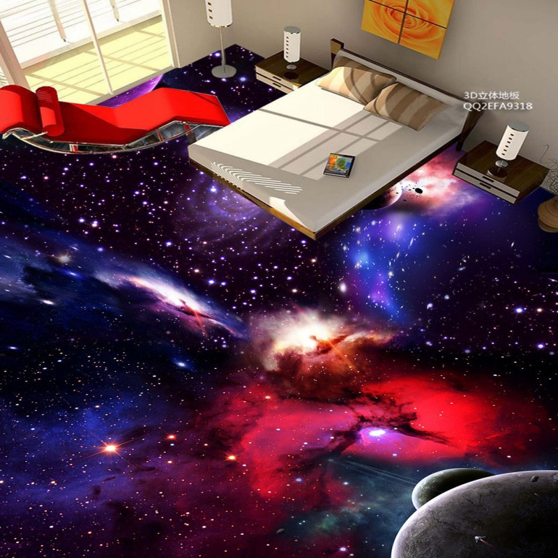Free Shipping flooring custom photo Universe Galactic 3D non-slip PVC floor wallpaper mural<br>