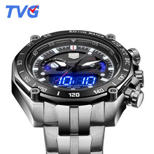 Top Brand Luxury TVG Watches Men Full Steel Dual Time Analog Digital Quartz Watches 30M Waterproof Dive Sports Watches For Men
