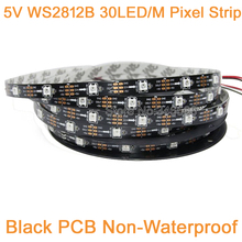 5m 5V WS2812B 30LED/M Dream Color RGB Pixel LED Strip,Built-in WS2811 IC Individually Addressable IP20 Non-Waterproof Black PCB