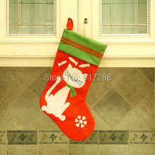 "5 Pieces/lot New White Cat Christmas Stocking 18""Red Felt Pet Stocking Christmas Indoor Decoration Gift(China)"