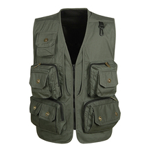 2017 new male vest casual multi-pocket quinquagenarian 100% cotton mesh vest waistcoat Outerwear gilet workwear Breathable(China)