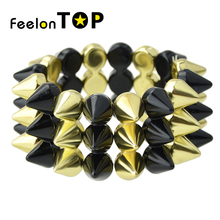 New Designer Exaggerated Spikes Punk Rock Bracelets And Bangles For Women Men Jewelry(China)