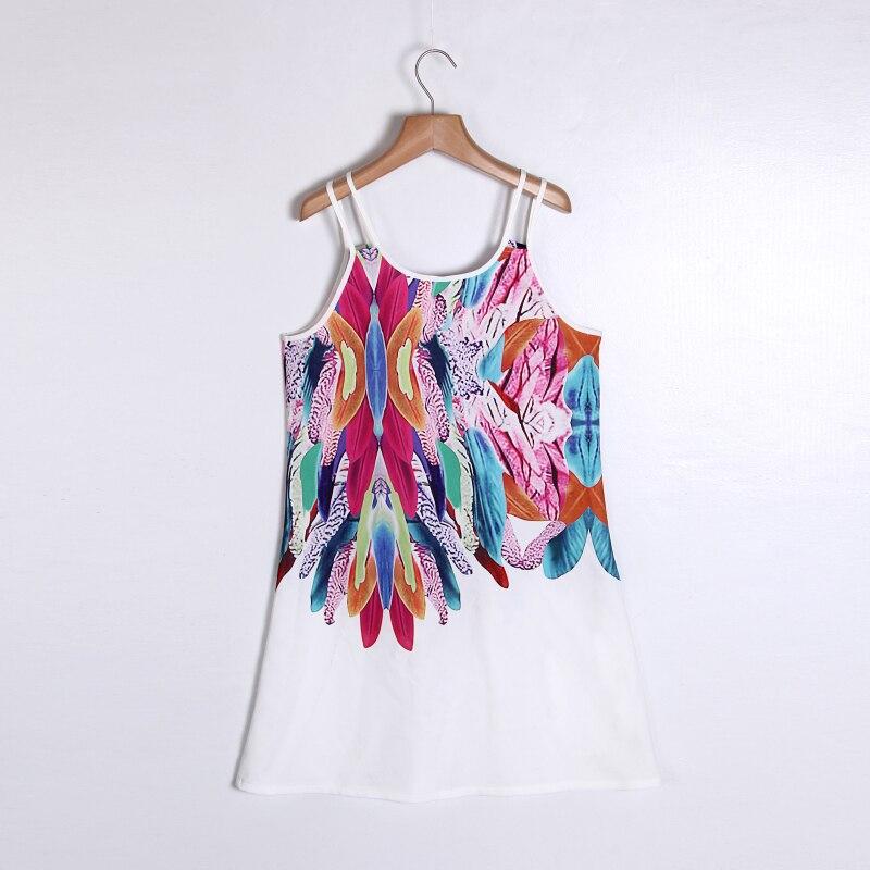 Women Bohemian Dress Feather Printed Beach Dress Causal Loose Spaghetti Strap Short Summer Dress S-5XL Plus Size Robe WS804O 8