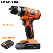 21v Lithium Battery*2 Adjustable speed Cordless Charging Electric Drill bits home Electric Screwdriver hand drill Power Tool set