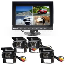 DIYSECUR 9 Inch Split Quad Display Rear View Monitor + 4 x CCD Night Vision Camera for Car Truck Bus Video Surveillance System