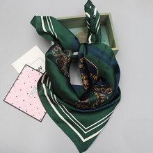 Luxury Brand Workplace Women Thin Silk Scarves Pashmina Art Square Silk Scarf Women Collar Shawls Spring 23 Colors  Green