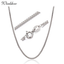 "1.5mm width 35cm-80cm 925 Sterling Silver Popcorn Chain Necklaces Women Jewelry Girls Collier kolye 14""-32"" Italy collares mujer(China)"