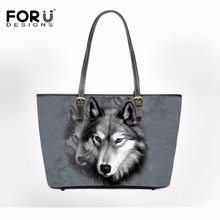 FORUDESIGNS Bolsa Feminine Cool 3D Animal Wolf Prints Handbags Woman Casual Tote Shoulder Bags for Ladies Girls Crossbody Beach