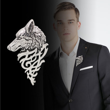 New Retro Personality Wolf Man Suit Collar Pin Buckle, Europe And The United States Original Design Domineering Wolf Horse Pin B