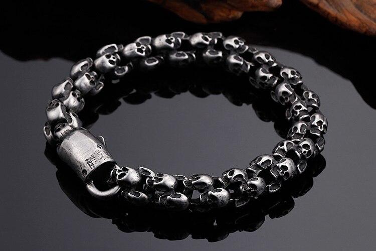 Cycolinks Full Skull Charm Bracelet Mens Biker Gift
