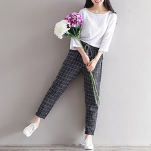 Today Plus 2017 New Women Fashion Check Printed Pants Leisure Ladies Casual Trousers Elastic Waist 2 Pockets 3 Colors M-2XL