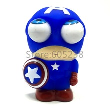 1Piece Captain America Mini Figure Marvel Superhero Bulging Eyes Pop Out Eyes Stress Balls Squeezable funny Toy