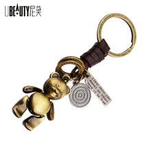 New arrival Women Metal Teddy Bear Doll Key Chain Creative Gifts Bronze Keychain Key Ring Trinket(China)
