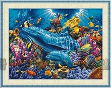 Top Quality lovely cross stitch kit dolphins of the ocean sea dolphin submarine world