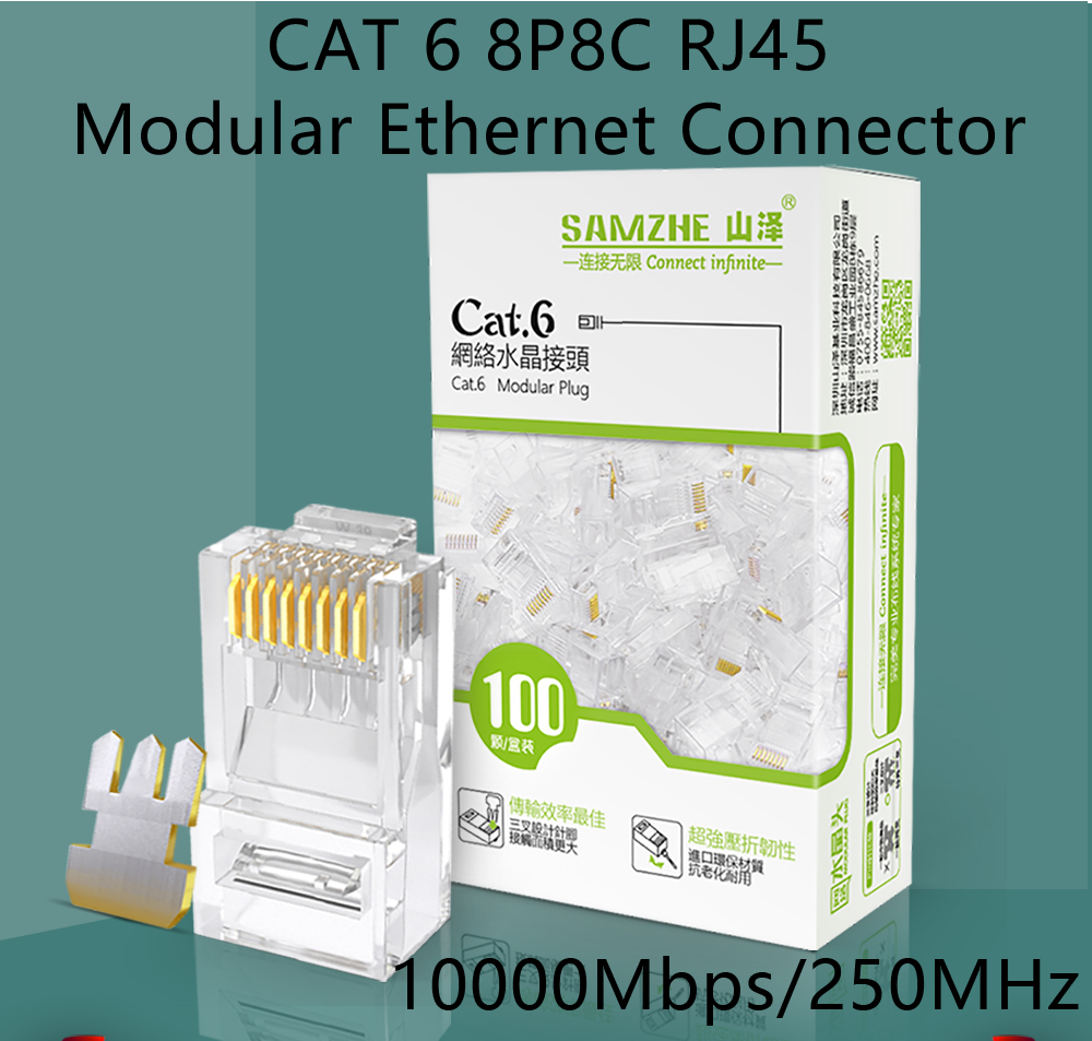 Samzhe Cat6 Rj45 Modular Plug 8p8c Connector For Ethernet Cablegold Cat 6 The Computer Cables And Connectors Chart Of High Quality Is Important Us Nowadays We Need Adapter Electricity Internet
