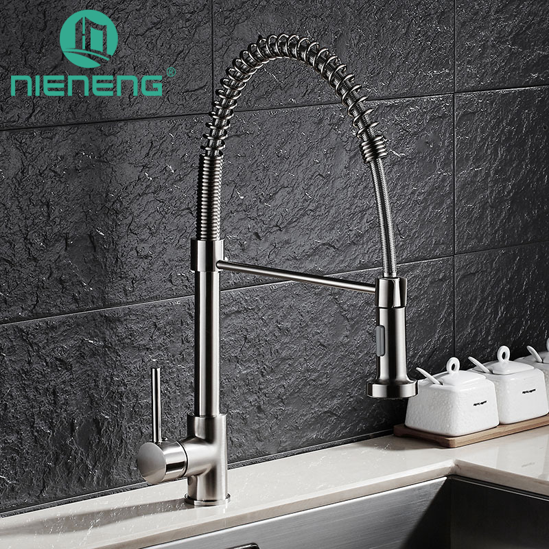 Discount Kitchen Faucet Brushed Single Handle Mixers Double Spout Water  Sprayer Kitchen Taps Sink Mixer Tap