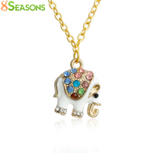 "8SEASONS Fashion Jewelry Necklace gold-color White Elephant Pendant Enamel Multicolor Rhinestone 61cm(24"") long,1 Piece"