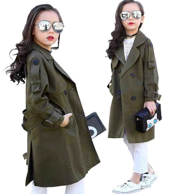 Children Overcoat Girls Trench Coat Khaki Kids Windbreaker Jackets Girls Outerwear Coats Double-breasted Coats 2018 Girls Coat<br>