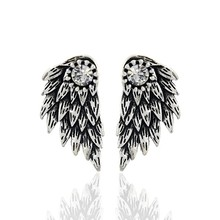Gothic Silver Color Cool Angel Wings Alloy Stud Earrings Cool Black Feather Earrings for Women Men Fashion Jewelry(China)