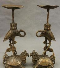 "12"" Chinese Bronze Crane Ride Dragon Turtle Candlestick Statue(China)"