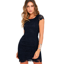 Buy Fashion Women Sexy Lace Dress backless Short Sleeve Solid Black White Dress Summer Female Elegant Party Dress 4 colors Talever for $15.60 in AliExpress store