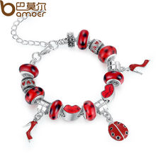Aliexpress Hot Sell European Silver Charm Bracelet for Women With Murano Glass Beads DIY Jewelry PA1198
