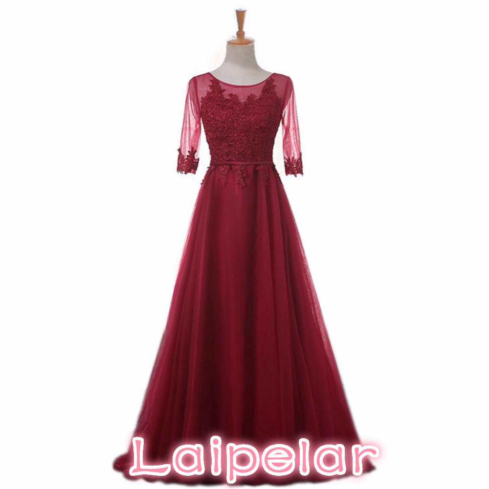 Laipelar Elegant O-Neck A-Line Sweep Train Lace Dress Cheap Dresses Robe De Soiree Party Dress With Half Sleeves
